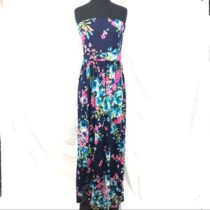 Women's strapless maxi dress navy floral  sz Large